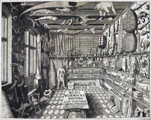 Frontispice - Musei Wormiani Historia montrant l'intérieur du cabinet de curiosités de Worm